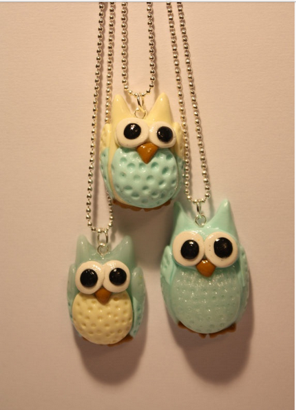 Owl Necklaces in Polymer Clay