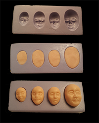 silicone flexible tiny cabochon face mold